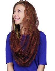 copper brown mantilla veil, brown copper infinity veil, catholic veil, catholic veils for sale, catholic veils meaning, catholic veil colors, catholic veils for mass, catholic veils amazon, wearing veils at mass, infinity chapel veils, catholic head coverings, catholic veiling for mass,