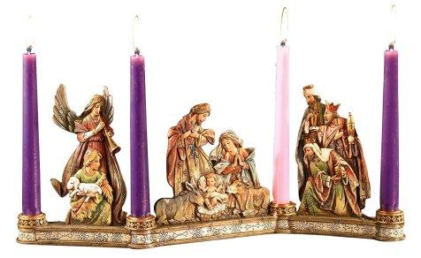 Advent Candleholder, Holy Family Nativity Scene
