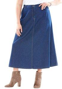 Women's Plus Size Perfect Denim A-Line Skirt modest christian lds modest modesty