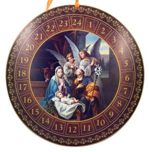 advent christmas gift ideas catholic Holy Family with Adoring Angels in Manger Advent Calendar with Die Cut Pull Tabs, 14 Inch
