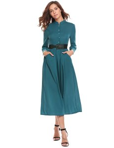 Long Sleeve Button Up modest dress