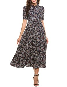 Short Sleeve Floral Print Modest Dress Autumn Fall Winter