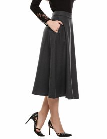 Women's Maxi Elastic High Waisted Flared Swing A-line Long Green Skirt With Pockets For Party Casual, modest, modest skirts, modest skirts uk, modest skirts website, modest midi skirts, modest skirts for church, cute modest denim skirts, long casual skirts,