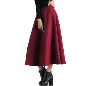 Womens High Waisted Elegant Flared Maxi Skirt, modest skirt,