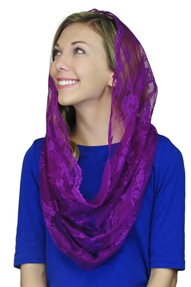 Infinity Scarf Mantilla - Catholic Chapel Veil - Veils by Lily - Advent - Purple - Christmas- Lent