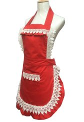Lovely Lace Work Adjustable Apron Home Shop Kitchen Cooking Women Aprons With Pocket for Christmas Gift, Red, aprons, aprons for women, vintage aprons, vintage aprons uk, vintage aprons amazon, vintage aprons online, vintage aprons for sale,