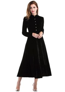 Ayliss Womens Peter Pan Collar Long Sleeve Ribbed Velvet Dress Loose Black Dress, modest, lds, catholic, christian, modesty,