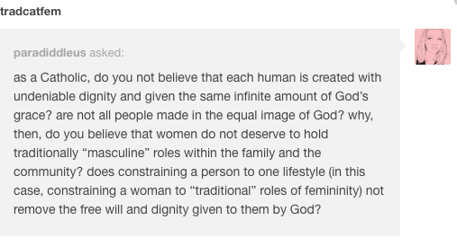 Traditional femininity and free will and equality