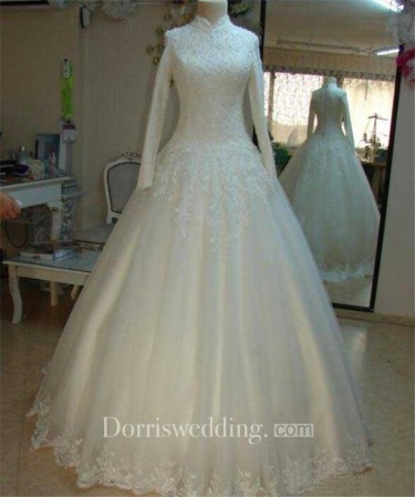modest bride bridal Vintage Beaded Lace High Neck Wedding Dresses With Long Sleeves