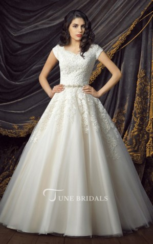 modest bride bridal Royal Short Sleeve Ball Gown Wedding Dresses