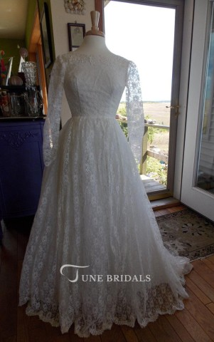 modest bride bridal Jewel Long Lace Wedding Dress With Beading And Long Illusion Sleeve