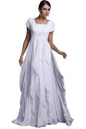 modest bride bridal A-line Chiffon