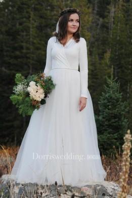 Modest bridal bride Floor-Length Long Sleeve Tulle Wedding Dress