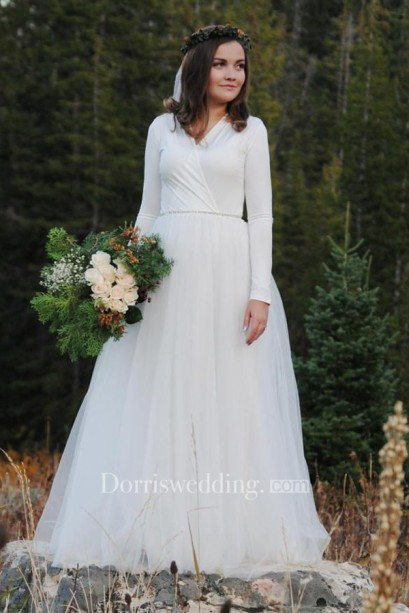 Modest bridal bride Floor-Length Long Sleeve Tulle Wedding Dress