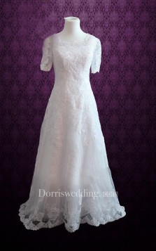 bride bridal Modest Scoop Neck A-Line Lace Dress With Short Sleeves