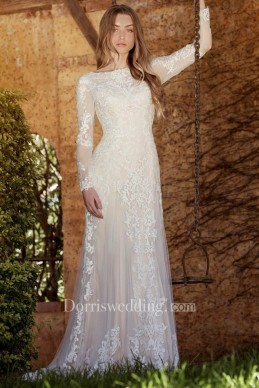 bride bridal modest Sheath Long-Sleeve High Neck Tulle&Lace Wedding Dress With Sweep Train
