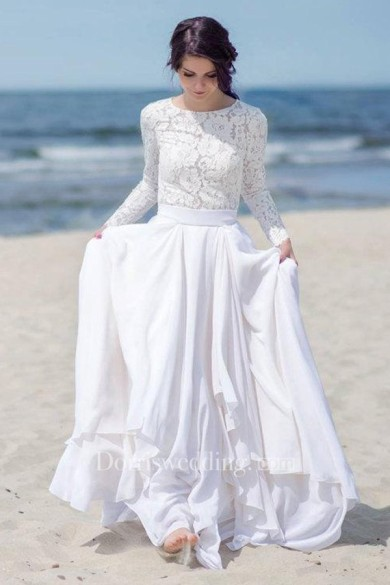 c1modest bridebridal Chiffon Satin Lace Button Zipper Wedding Dress